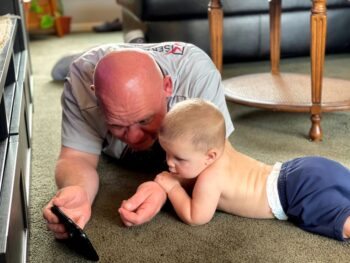 Gruber with his grandson